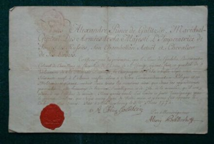 Antique Imperial Russian Signed Document General Prince Alexander Galitzine 1772